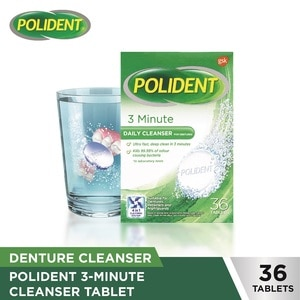 POLIDENT3-Minute Daily Cleanser Denture 36 Tablets,Denture Cleansers and Adhesives