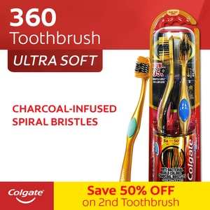 COLGATE360 Golden Charcoal Big Toothbrush 2s,ToothbrushClean Beauty