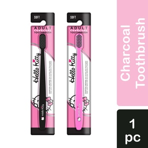 HELLO KITTYAdult Charcoal Toothbrush Pink 1pc,ToothbrushHELLOWT