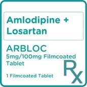Amlodipine + Losartan 5mg/100mg 1 Filmcoated Tablet  [Prescription Required]