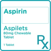 Aspirin 80 mg 1 Chewable Tablet [PRESCRIPTION REQUIRED]