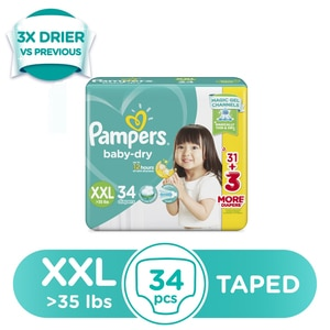 PAMPERSBaby Dry Extra Extra Large Diapers 34s,Tape DiapersWCFREEDELIVER