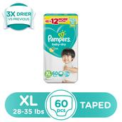 Baby Dry Taped Diapers Extra Large (28-35 lbs) 60 pcs