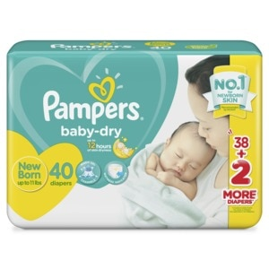 PAMPERSBaby Dry Taped Diapers New Born (Up to 11 lbs) - 40 pcs -,Tape DiapersAll Must Go Sale