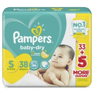 PAMPERSBaby Dry Taped Diapers Small 38s,Tape DiapersAll Must Go Sale