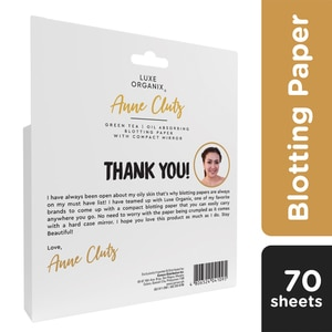 LUXE ORGANIXLuxe Organix Blotting Paper With Compact Mirror By Anne Clutz 70 Sheets,PowderClean Beauty