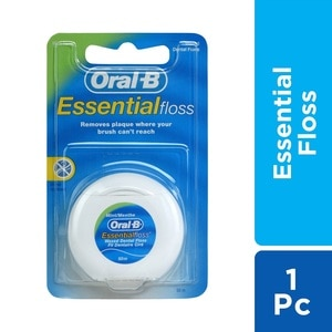 ORAL BEssential Floss Mint  Waxed 50 meters,Dental Floss and Tongue CleanerSummer Essentials