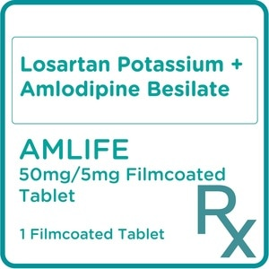 AMLIFELosartan Potassium + Amlodipine Besilate 50mg/5mg 1 Filmcoated Tablet [PRESCRIPTION REQUIRED],Cardio HematoBest Selling Products