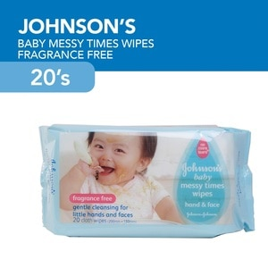 JOHNSONS N JOHNSONSMessy Times Wipes 20's,Baby WipesJohnson and Johnson Baby Care