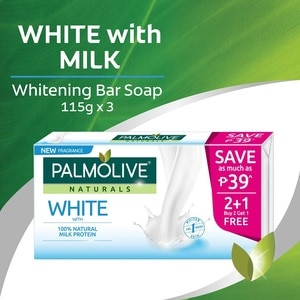 PALMOLIVEWhite with Milk Whitening Bar Soap 115gx3,Bar SoapClean Beauty