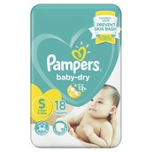 Baby Dry Taped Diapers Economy Small 18s