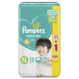 PAMPERSBaby Dry Taped Diapers Economy XL 12s,Tape DiapersWCFREEDELIVER