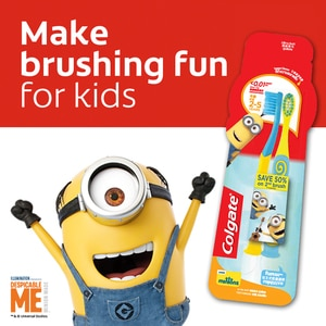 COLGATETooth Brush Junior Minions Pack Of 2,Baby and Kids' Toothbrush and ToothpasteClean Beauty