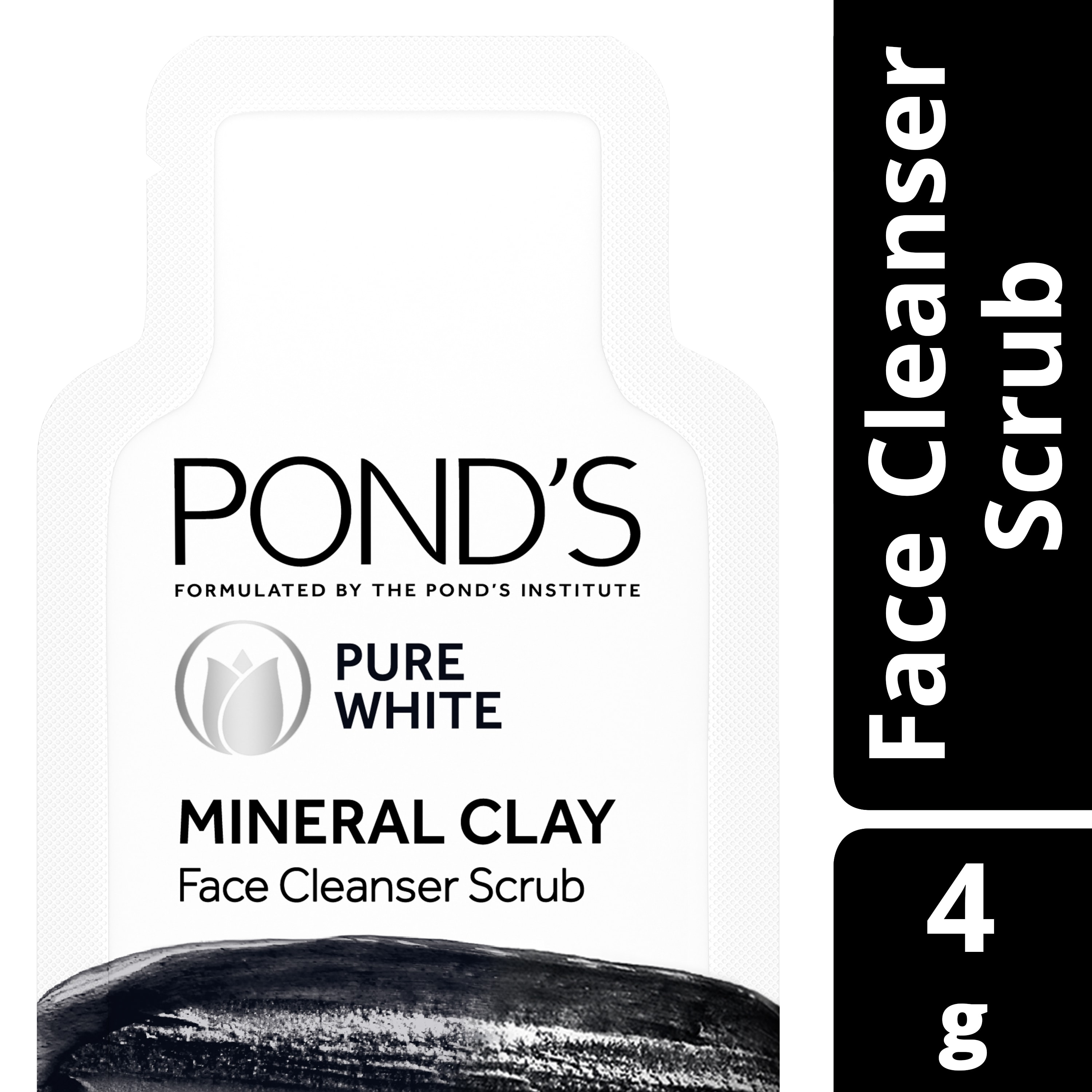 Ponds Pure White Mineral Clay Facial Cleanser Scrub 4g