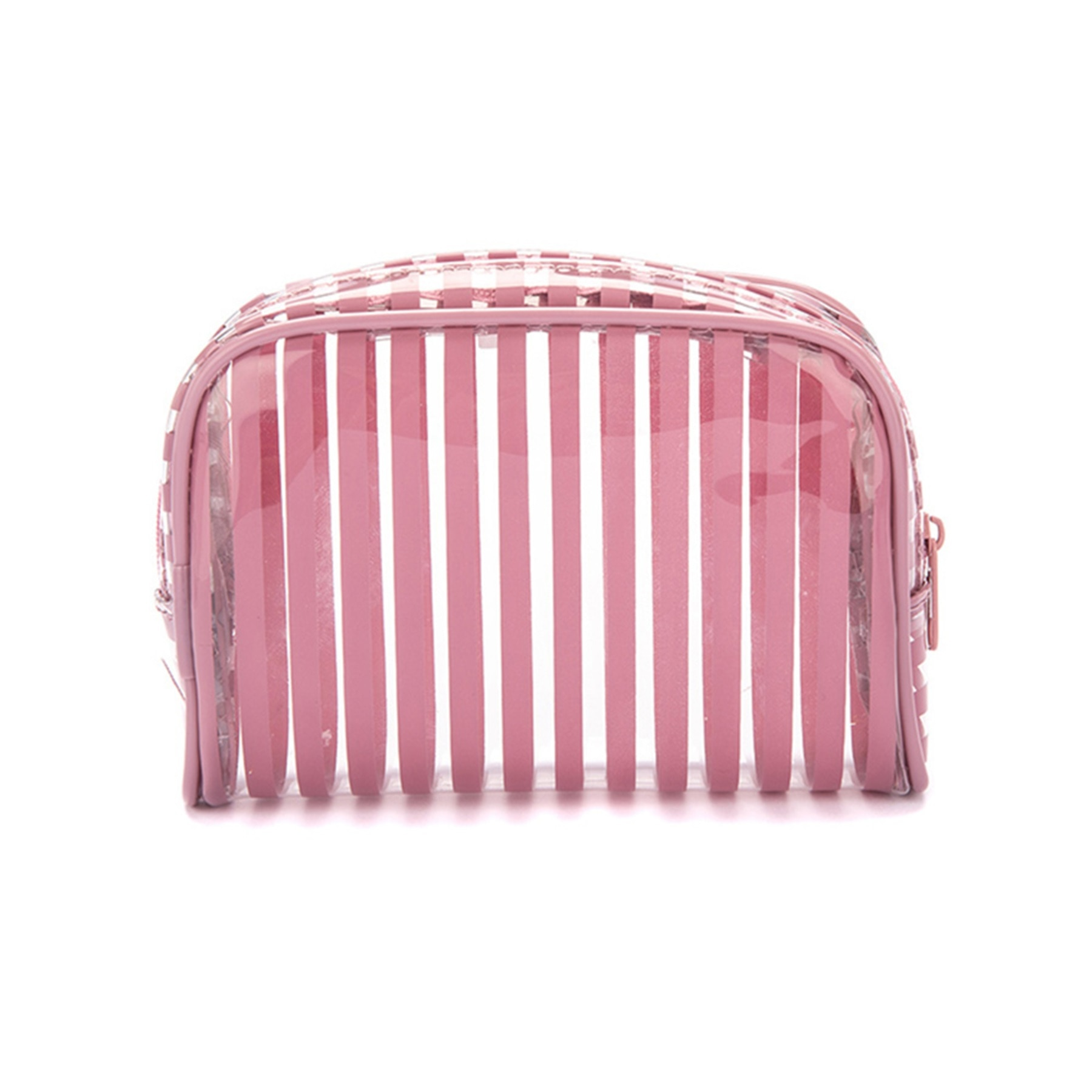 Stripes Pink Halfmoon Cosmetic Pouch
