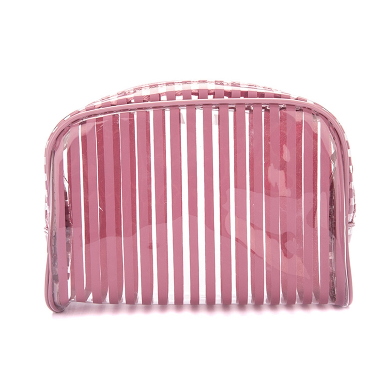 Stripes Pink Halfmoon Cosmetic Pouch Small