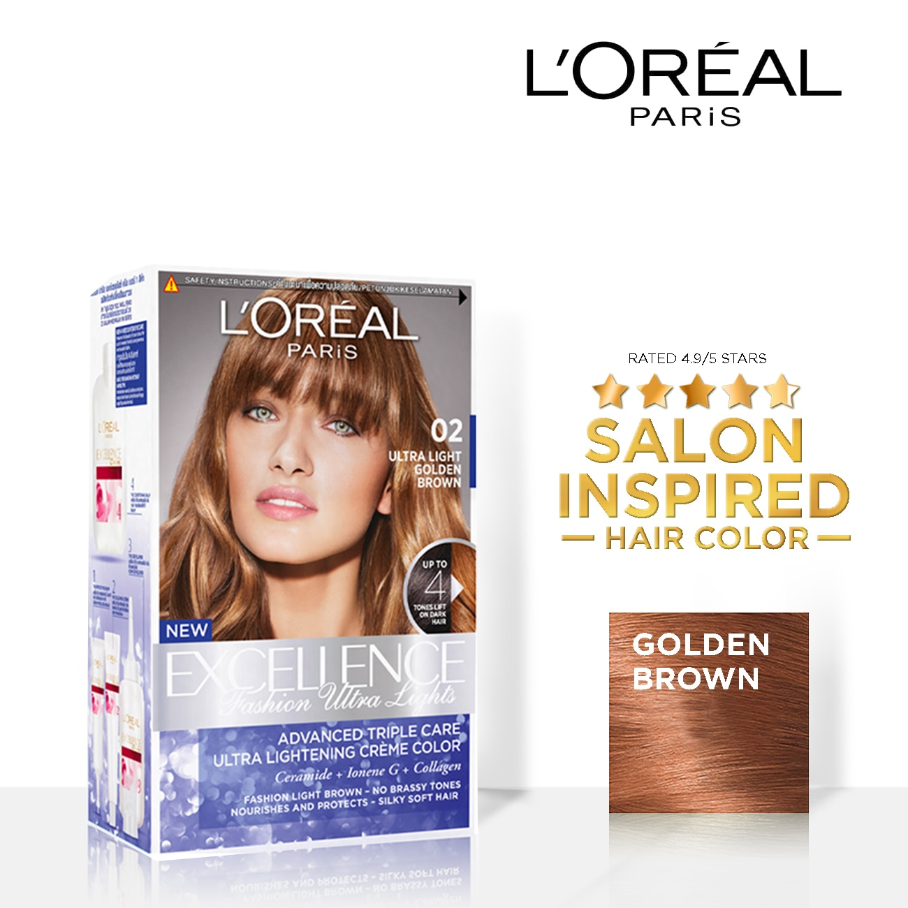 Excellence Fashion Ultra Lights - 02 Golden Brown  Triple Care Hair Color