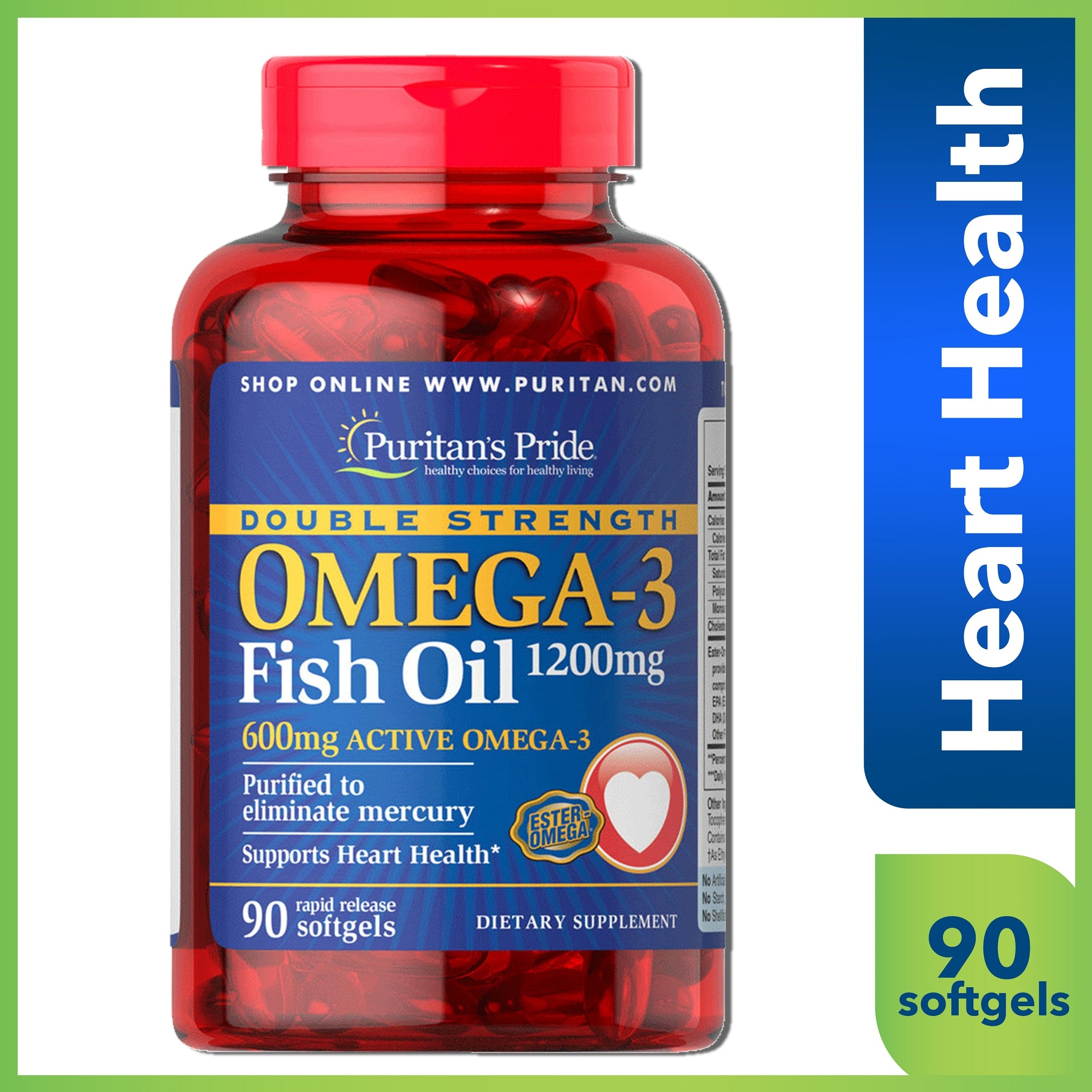 Fish Oil Omega 3 Double Strength 1200mg 90 Softgels