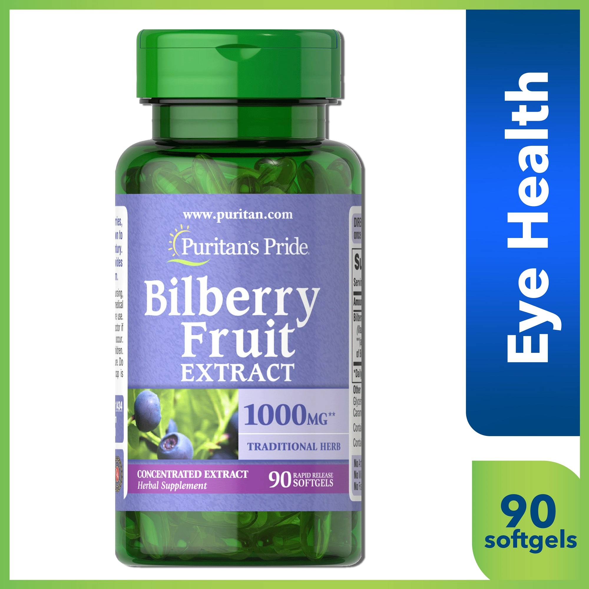 Bilberry 4:1 Extract 1000mg 90 Softgels