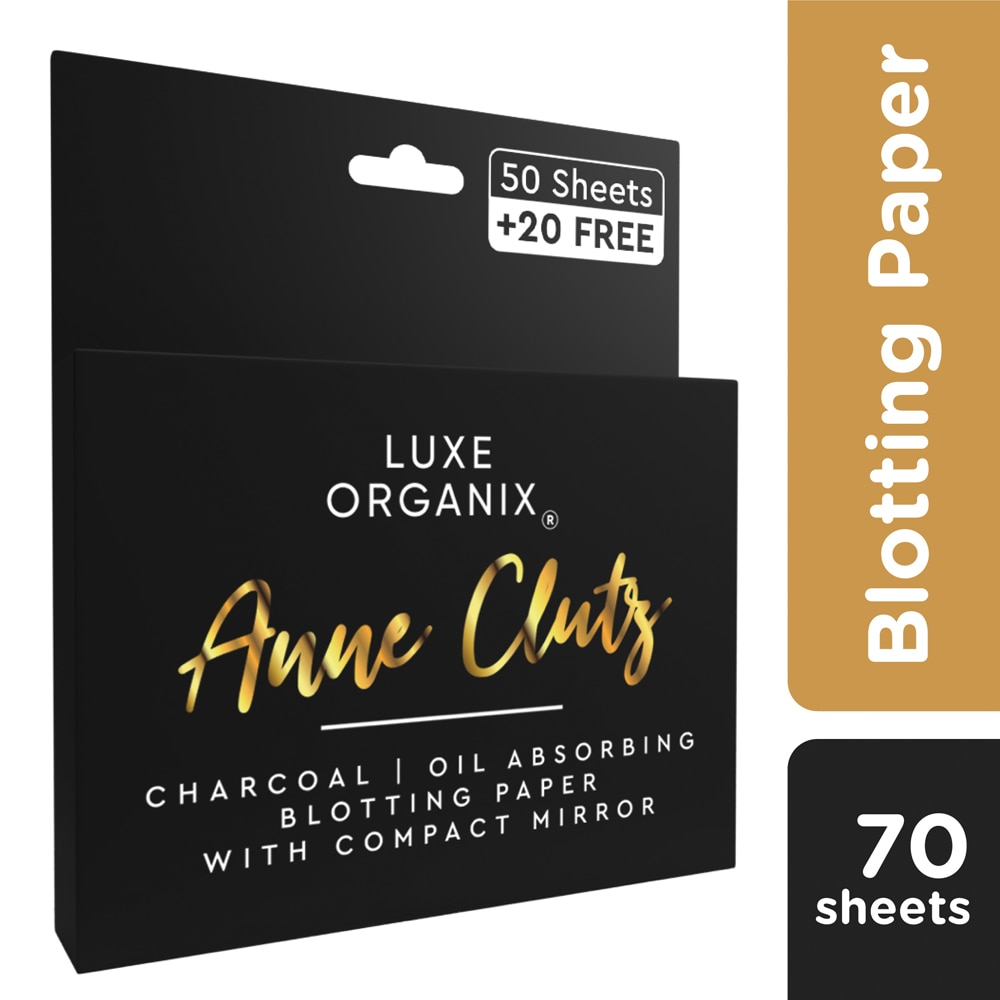 Anne Clutz Charcoal Oil Absorbing Blotting Paper with Compact Mirror 50+20 Sheets