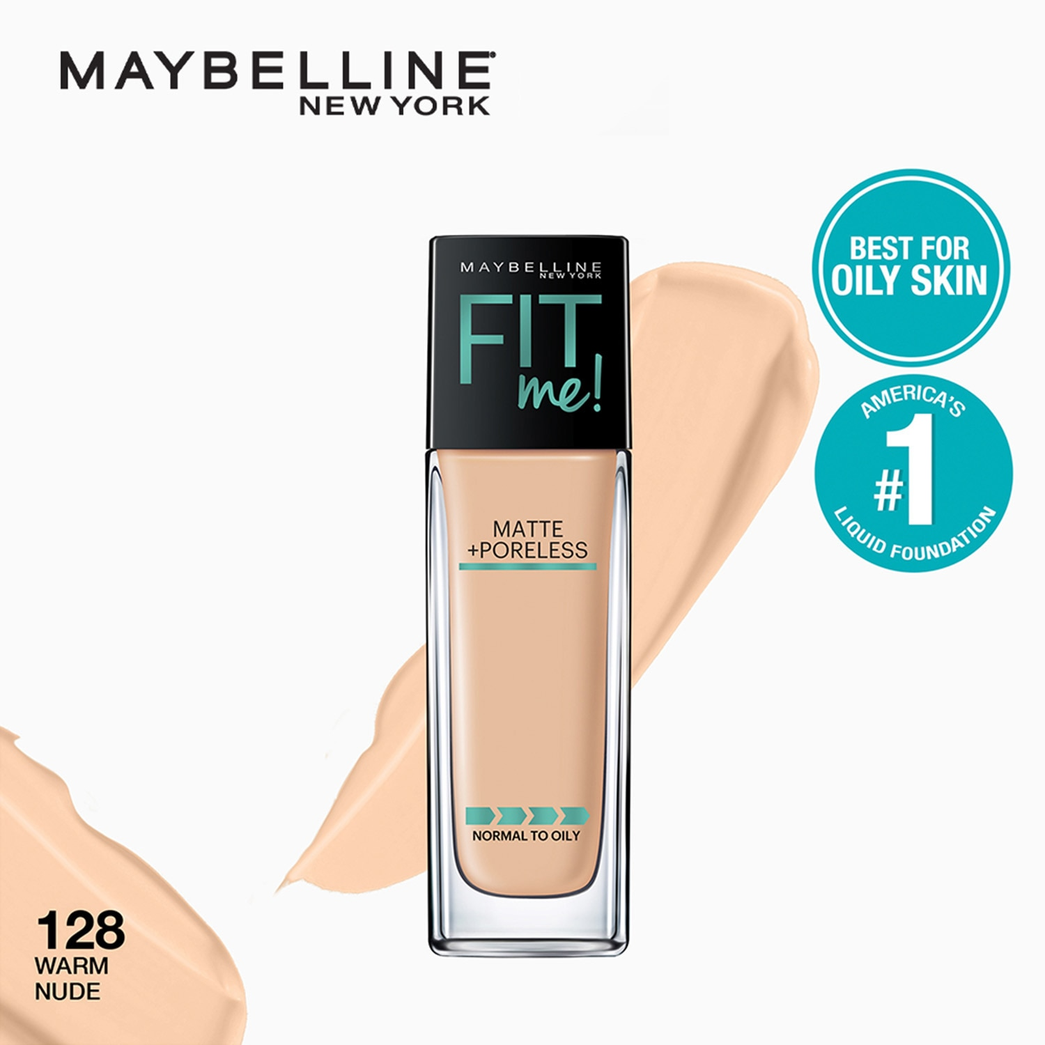 Fit Me Matte+Poreless Liquid Foundation - 128 Warm Nude [USA Bestseller] by Maybelline 30ml