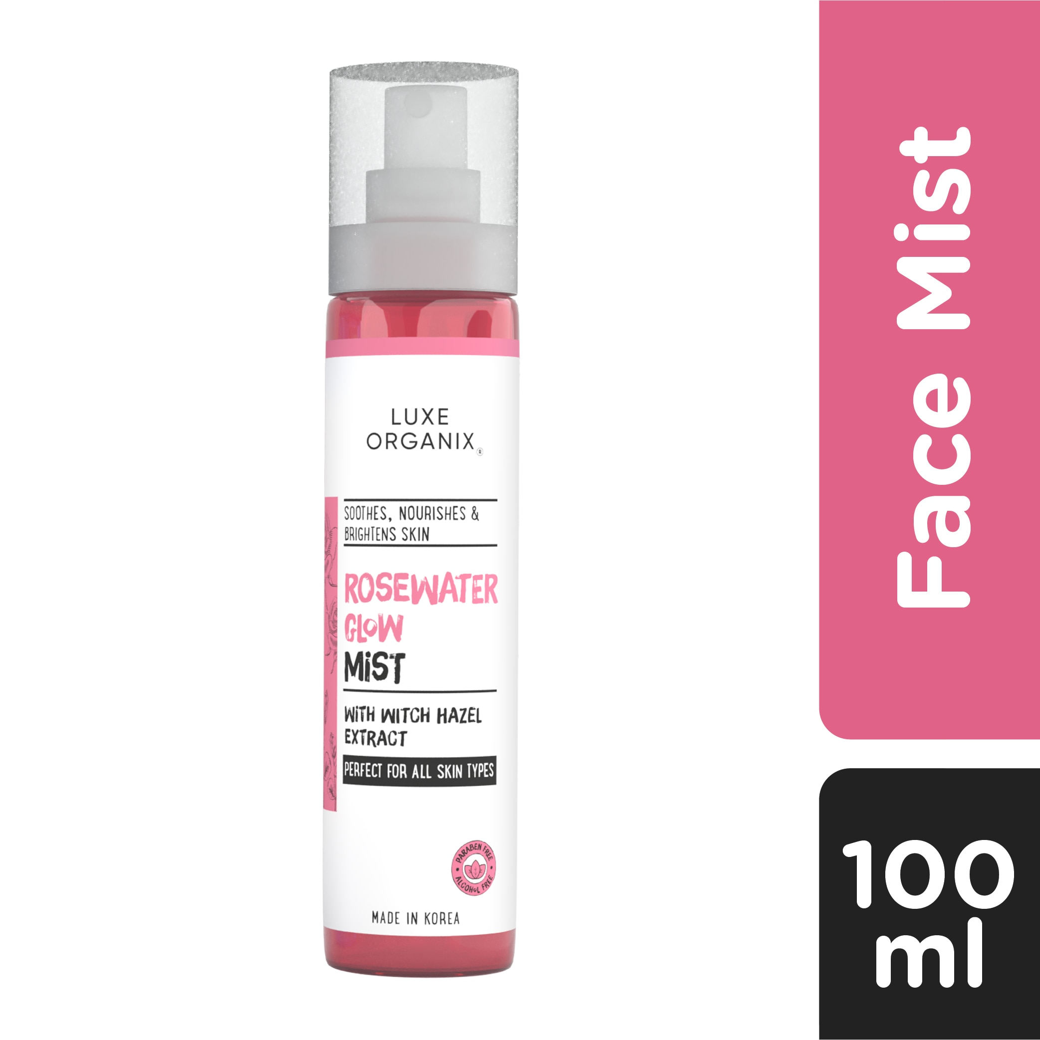 LUXE ORGANIXLuxe Organix Rosewater Glow Mist with Witch Hazel Extract 100ml,Facial MistClean Beauty