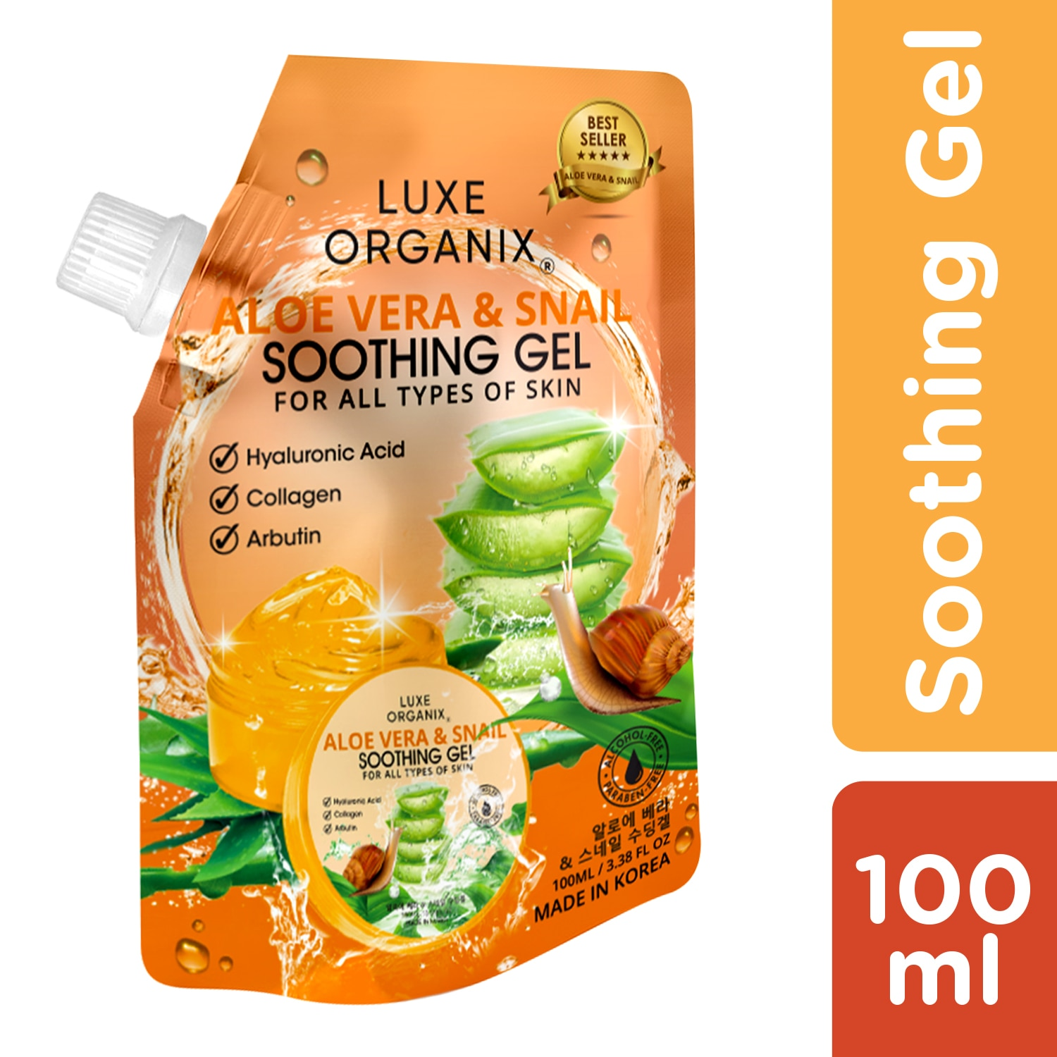 LUXE ORGANIXLuxe Organix Soothing Gel Aloe Vera & Snail 100ml,For WomenBest Selling Products