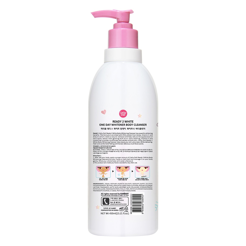 CATHY DOLLReady 2 White One Day Whitener Body Cleanser 450ml,Body WashGet 1 Free Maxipeel Sun Protect Cream 15g when you buy any of selected Personal Care products per transaction.