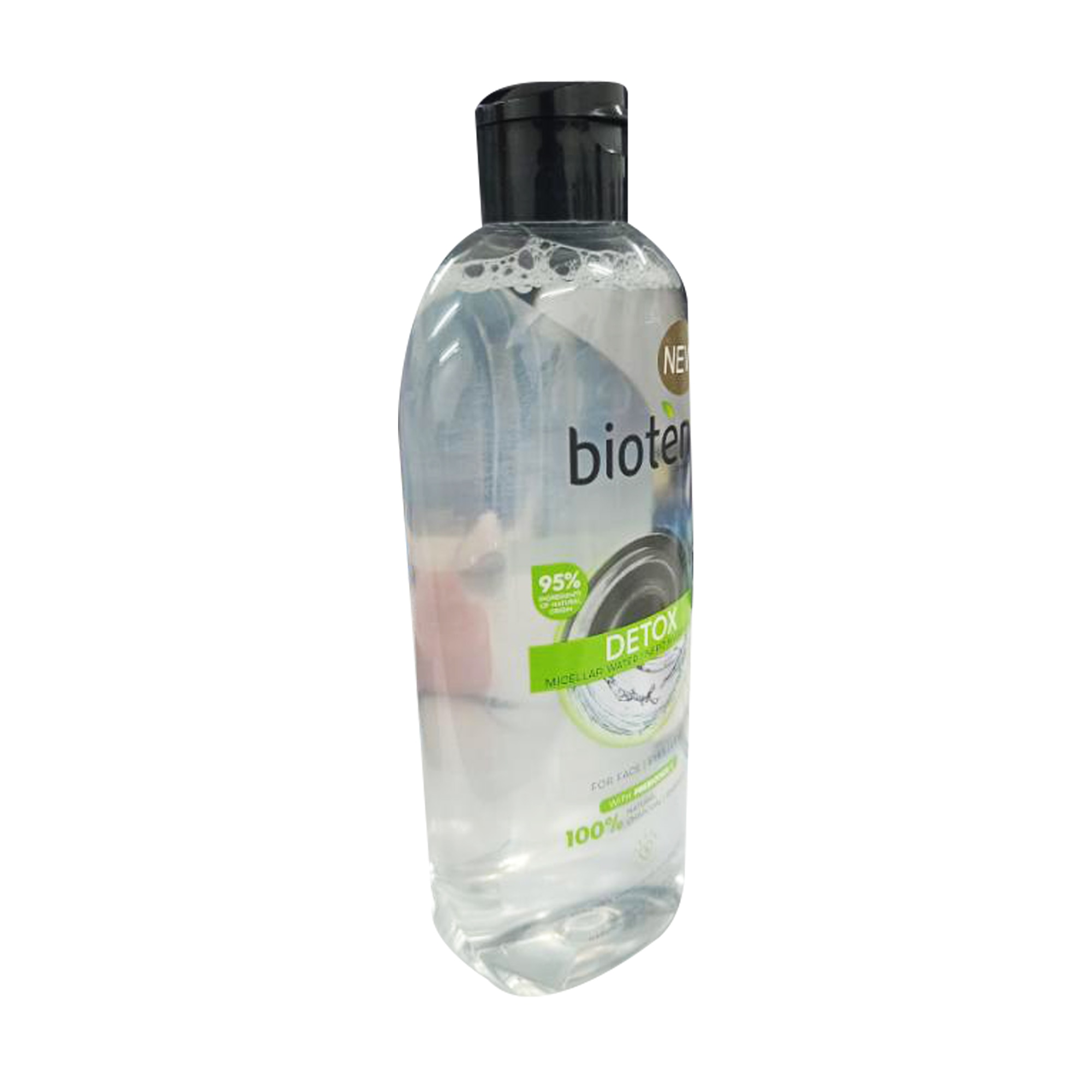 BIOTENDetox Micellar Water For Face, Eyes And Lips 100% Natural Charcoal 400 ml,For Men