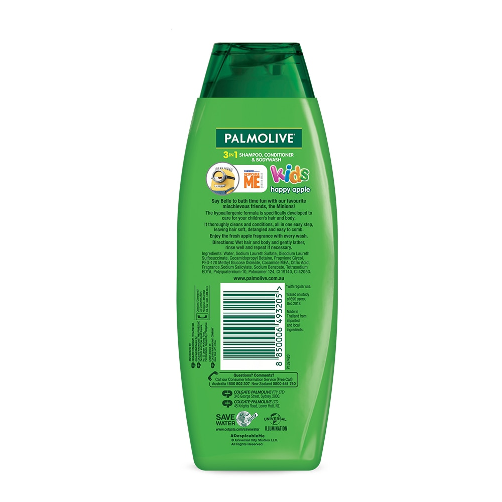 PALMOLIVEKids 3-in-1 Shampoo, Body Wash and Conditioner Happy Apple 350ml,Baby BathHELLOWT