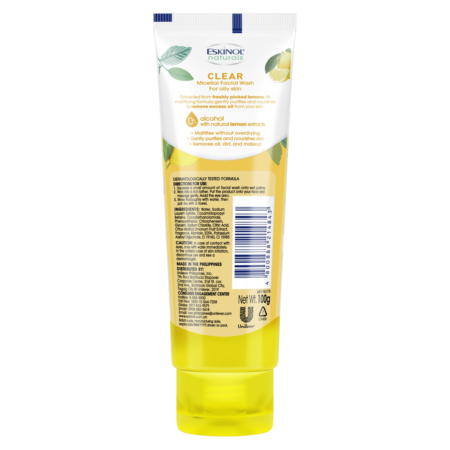 ESKINOLNaturals Micellar Facial Wash Clear with Natural Lemon Extracts 100g,For WomenFree (1) Watsons Dermaction Plus Antiacne St20x2 for every purchase of Skin Care products