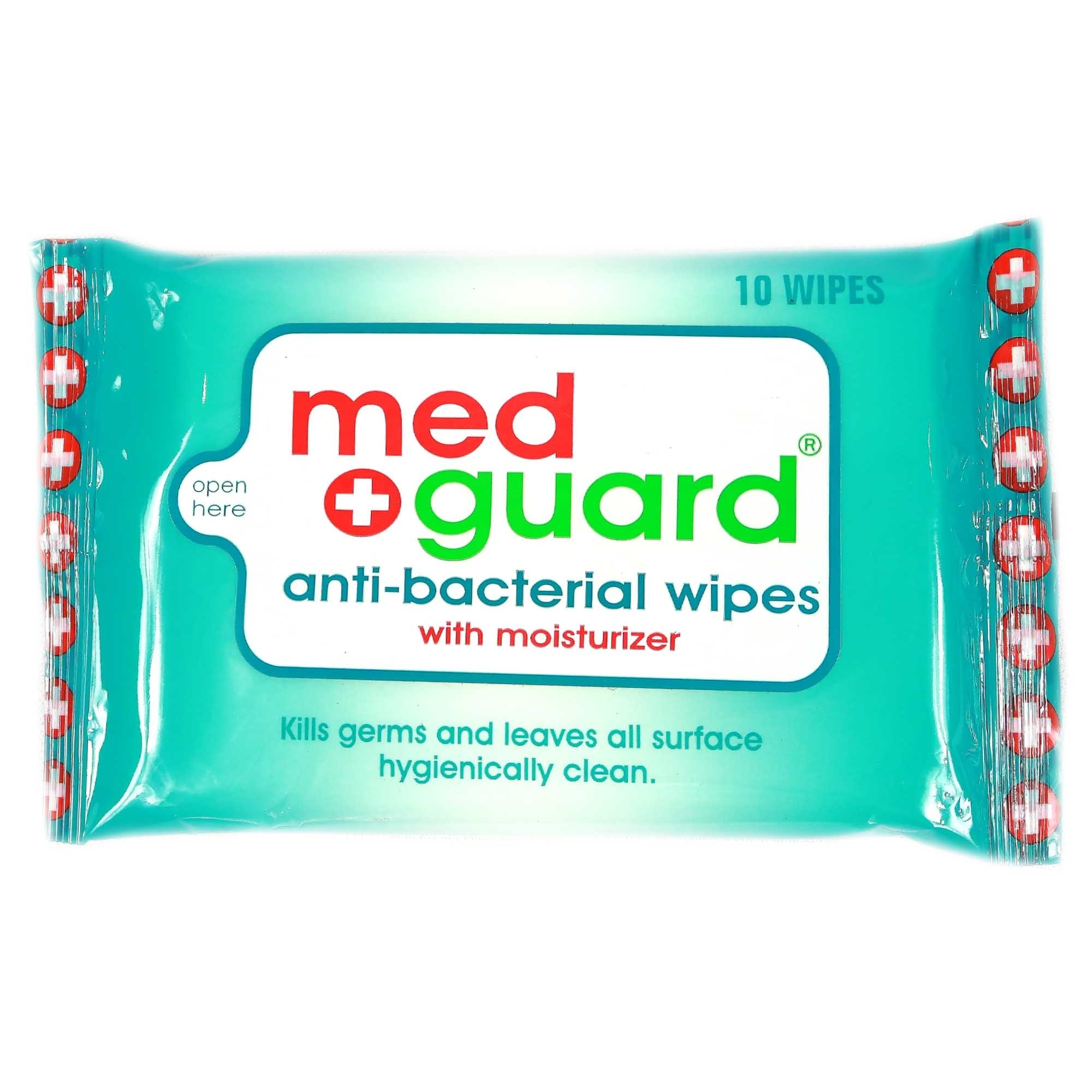 MED GUARDAnti-Bacterial Wipes with Moisturizer 10 Sheets,Face and Body WipesHELLOWT