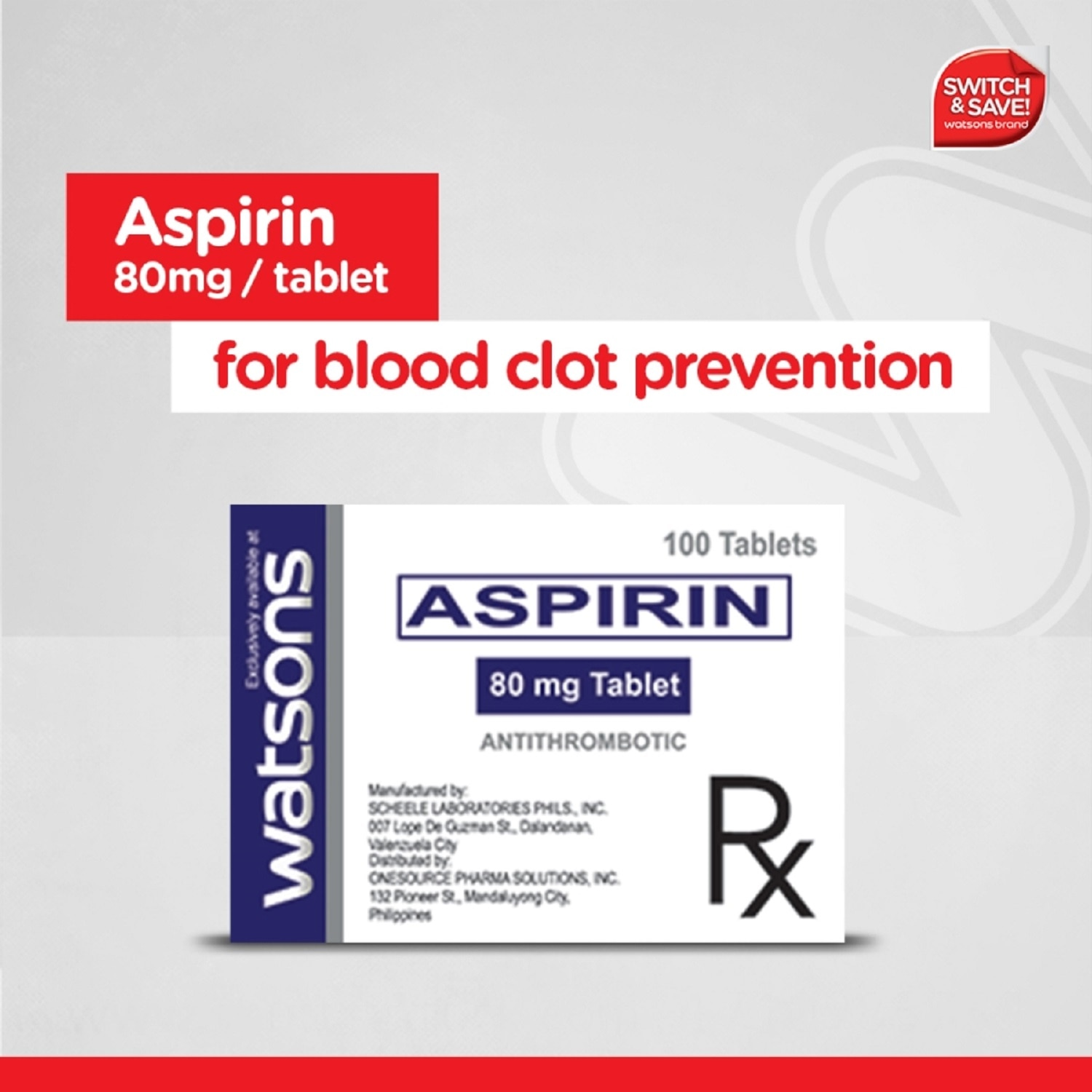 WATSONSAspirin 80mg 1 Tablet [PRESCRIPTION REQUIRED],Cardio HematoCOMPLY N SAVE BUY15 GET15% BUY30 OR MORE GET30%