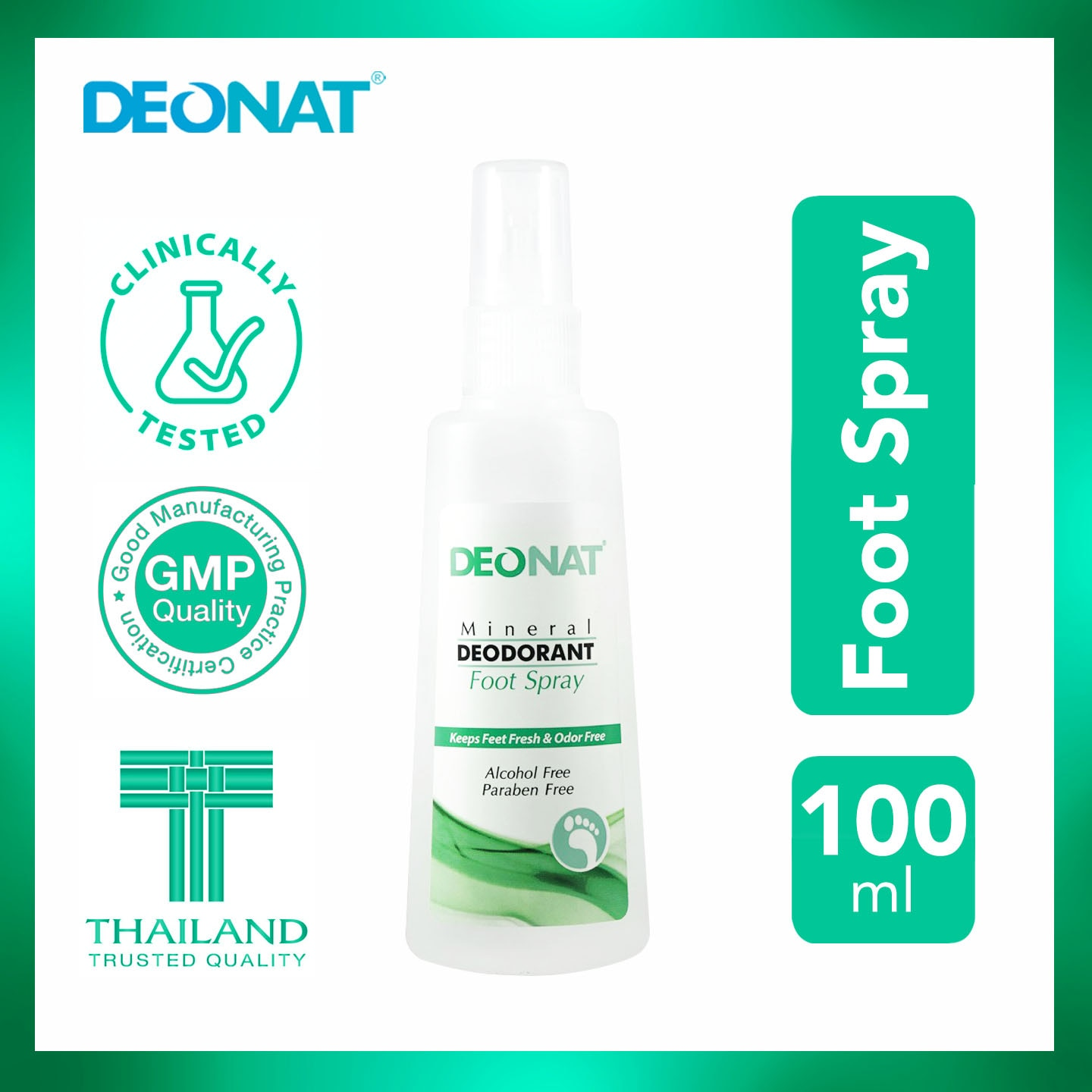 DEO NATMineral Deodorant Foot Spray 100ml,Foot CareFREE (1) Derma C Face Mask for every purchase of P800 worth of skin care items