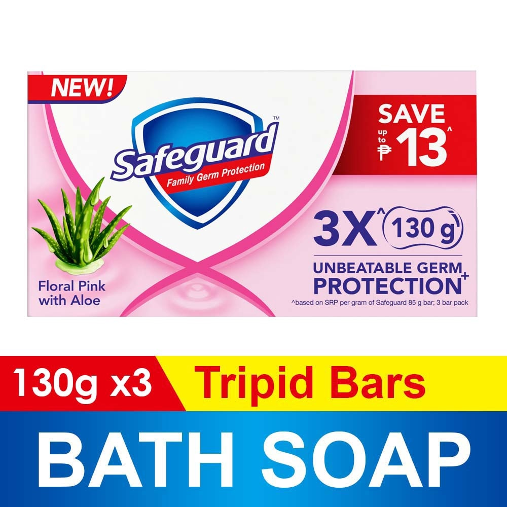 SAFEGUARDFloral Pink With Aloe Tripid Bar Soap 130g,Bar SoapSummer Essentials