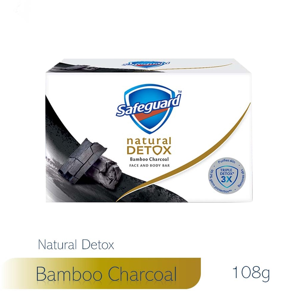 SAFEGUARDDetox Face and Body Bar Charcoal 108g,Bar SoapSummer Essentials
