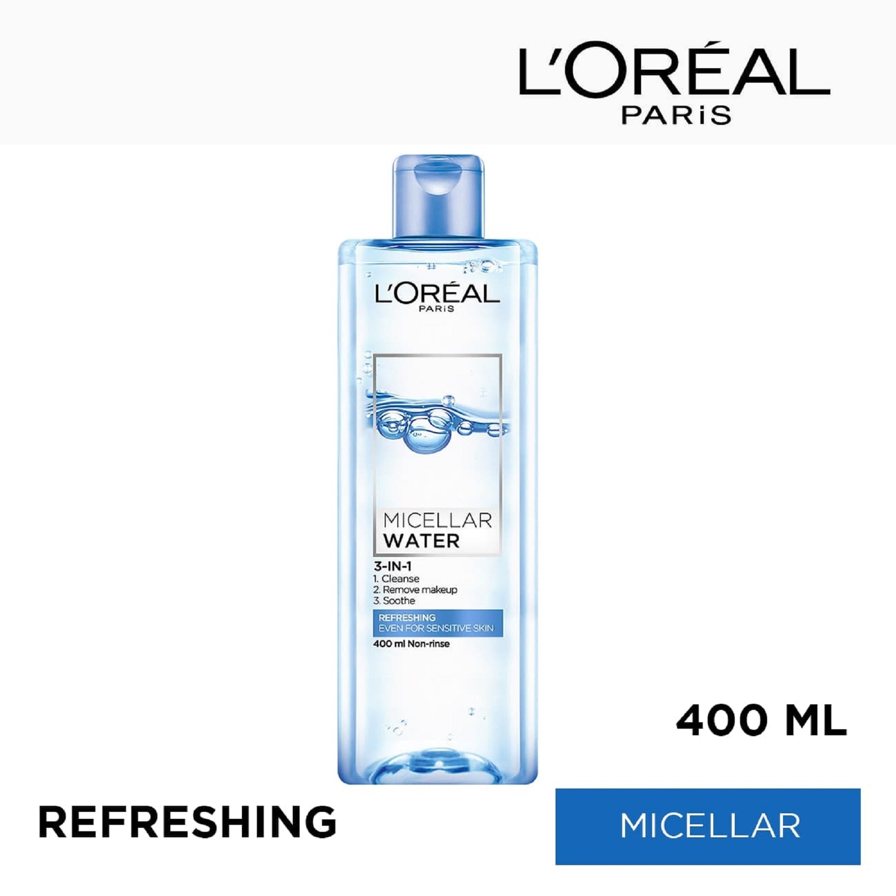 LOREALParis Micellar Water - Refreshing (Blue) 400mL,For WomenFree (1) Watsons Dermaction Plus Antiacne St20x2 for every purchase of Skin Care products