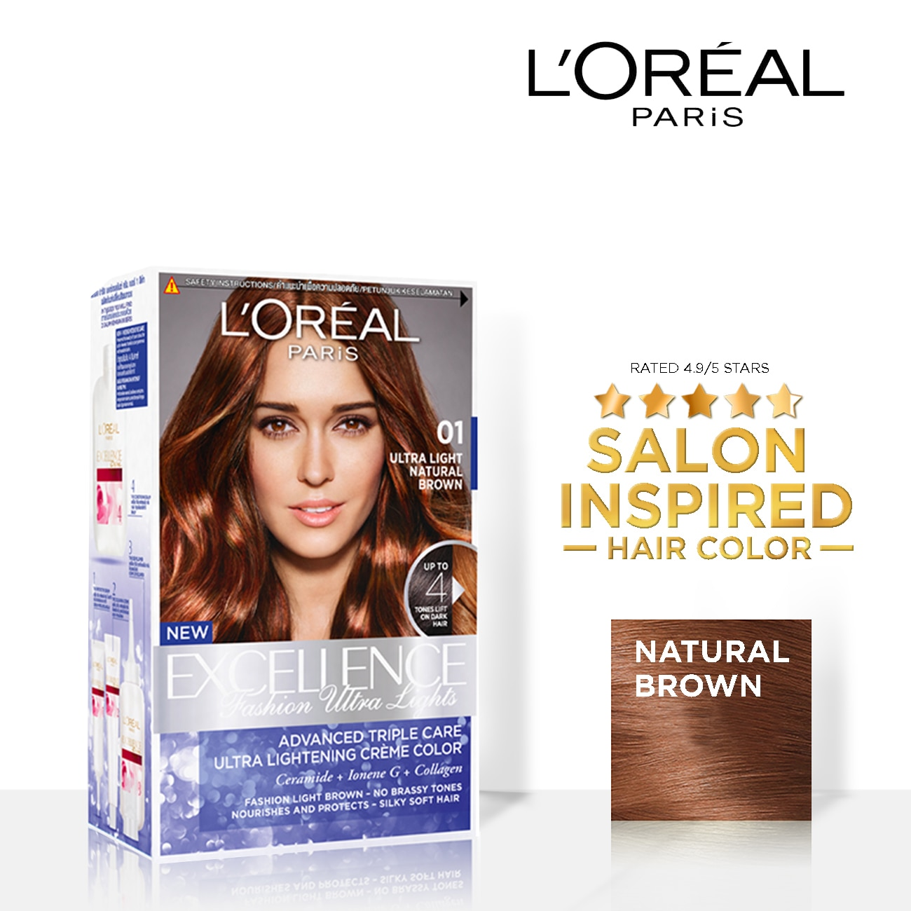 LOREALExcellence Fashion Ultra Lights - 01 Natural Brown  Triple Care Hair Color,PermanentHELLOWT