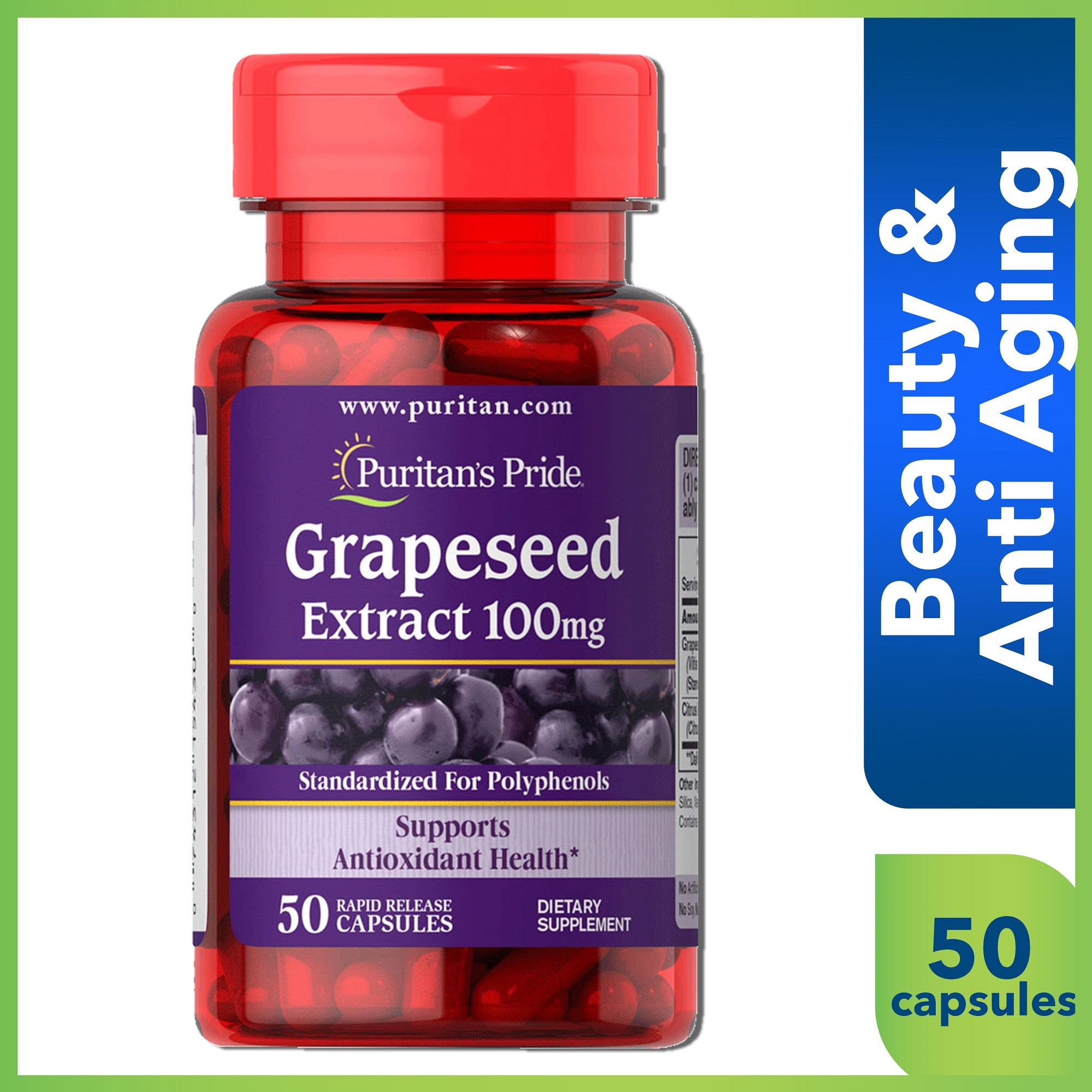 PURITANS PRIDEGrape Seed Extract 100mg 50 Capsules,Anti-aging