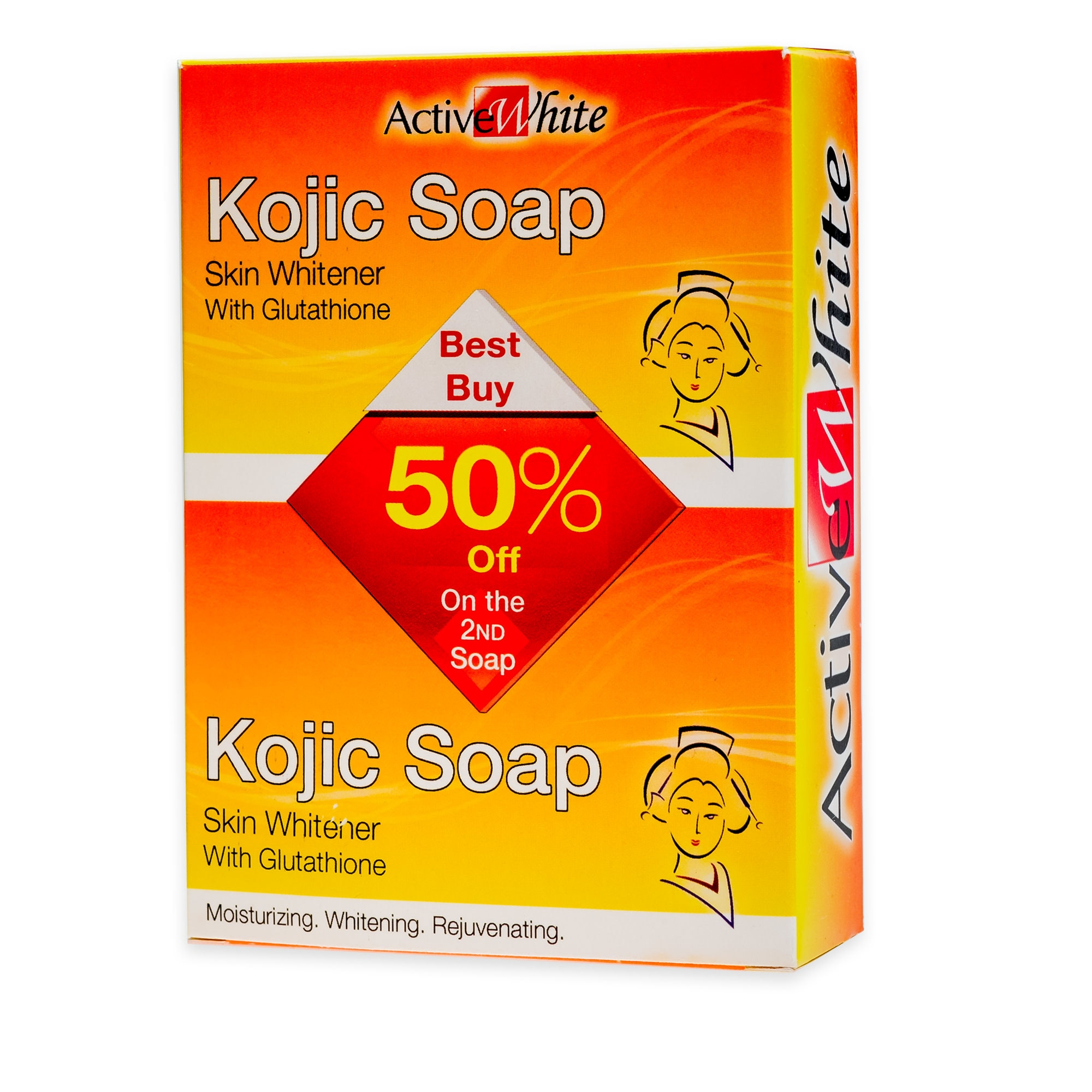 ACTIVE WHITEKojic Soap 50% off,Bar SoapGet 1 Free Maxipeel Sun Protect Cream 15g when you buy any of selected Personal Care products per transaction.