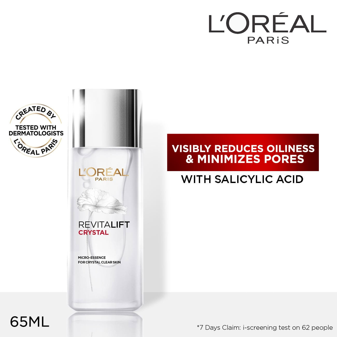 LOREALParis Revitalift Crystal Micro Essence 65mL Toner with Salicylic Acid [Pore Minimizer],Serum/EssenceFree (1) Watsons Dermaction Plus Antiacne St20x2 for every purchase of Skin Care products