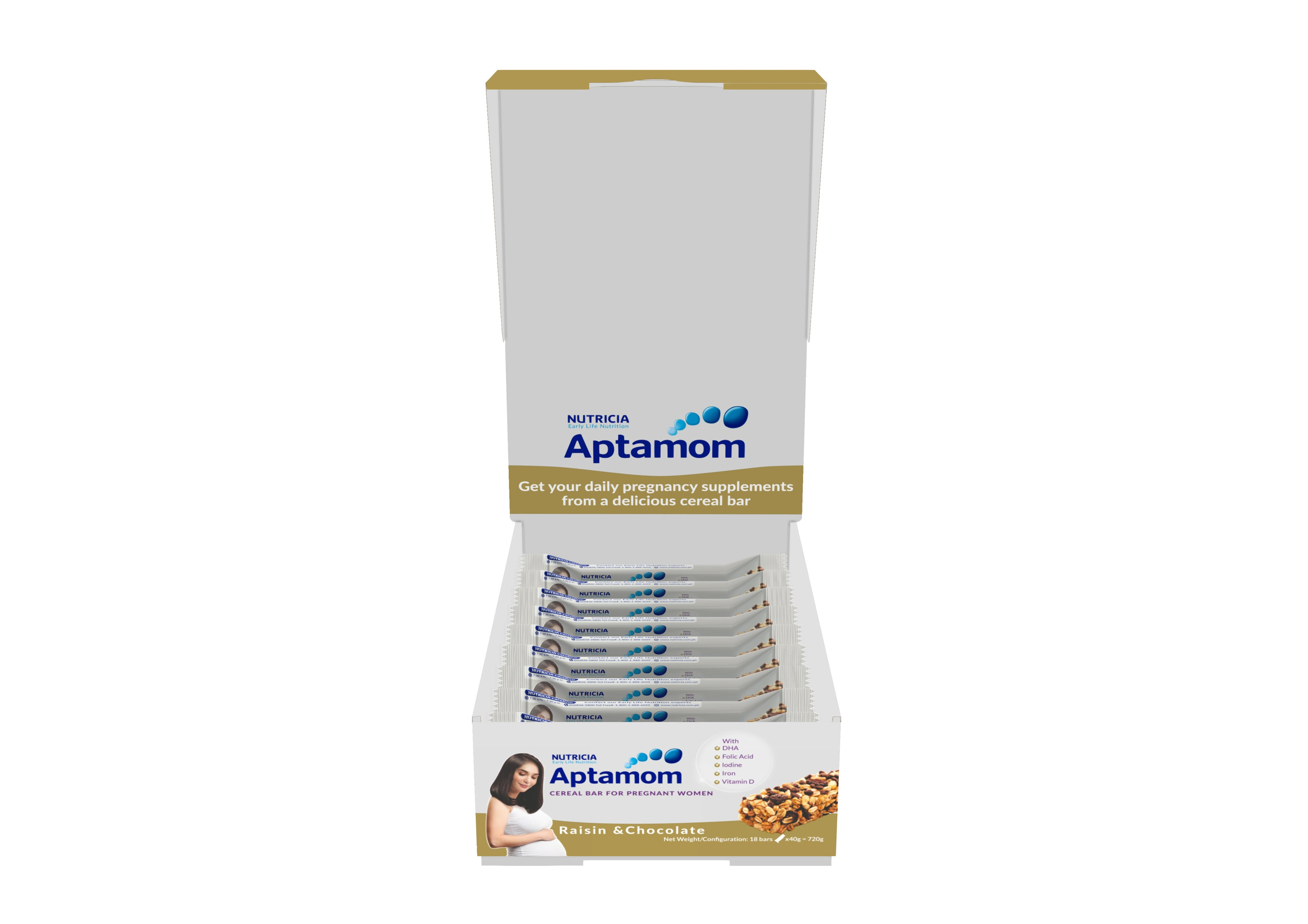 APTAMOMCereal Bar - Raisin and Chocolate with DHA 40g 1s,Diet and Slimming