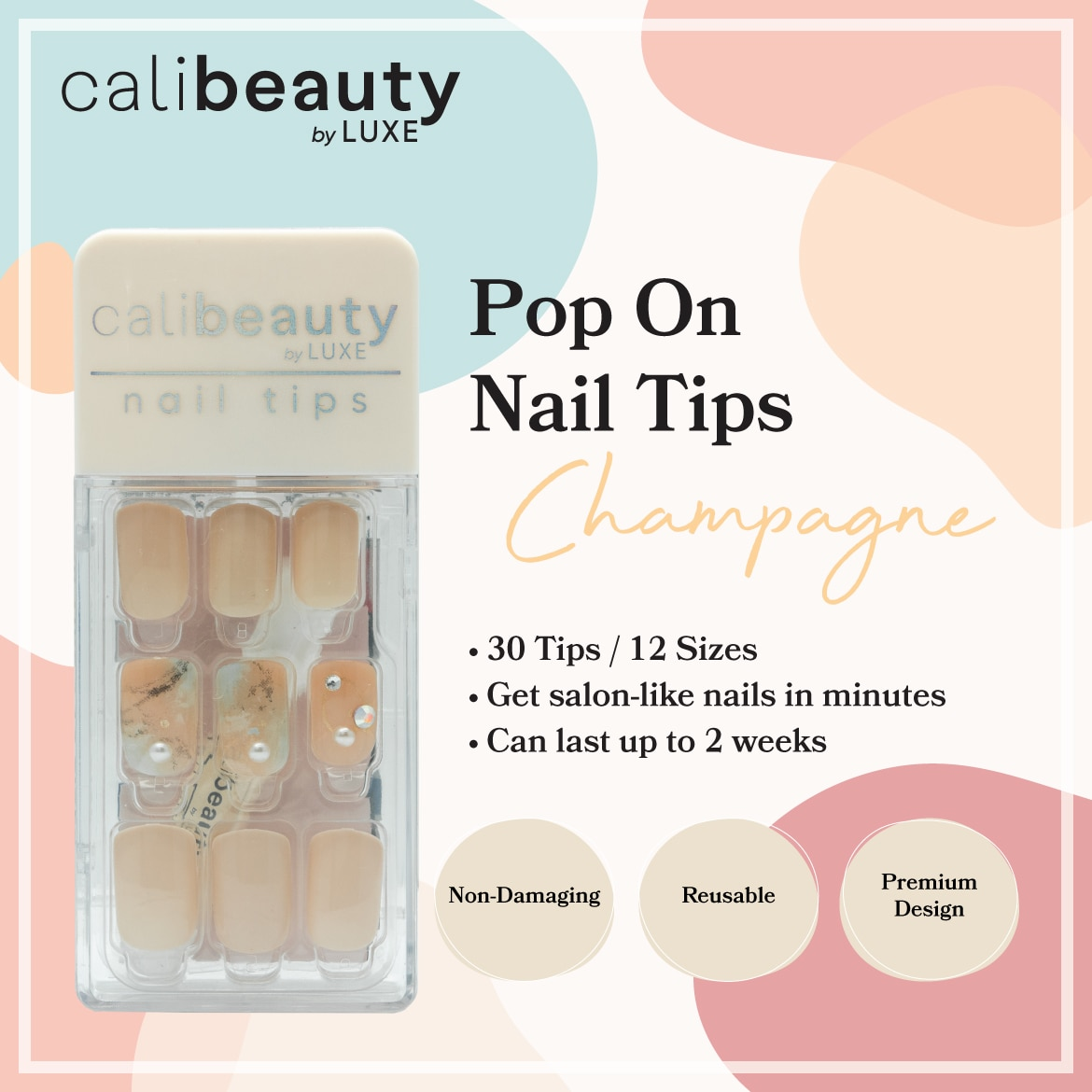 CALI BEAUTYNail Tips Champagne 30 Tips,Nail Polish and AccessoriesKBeauty