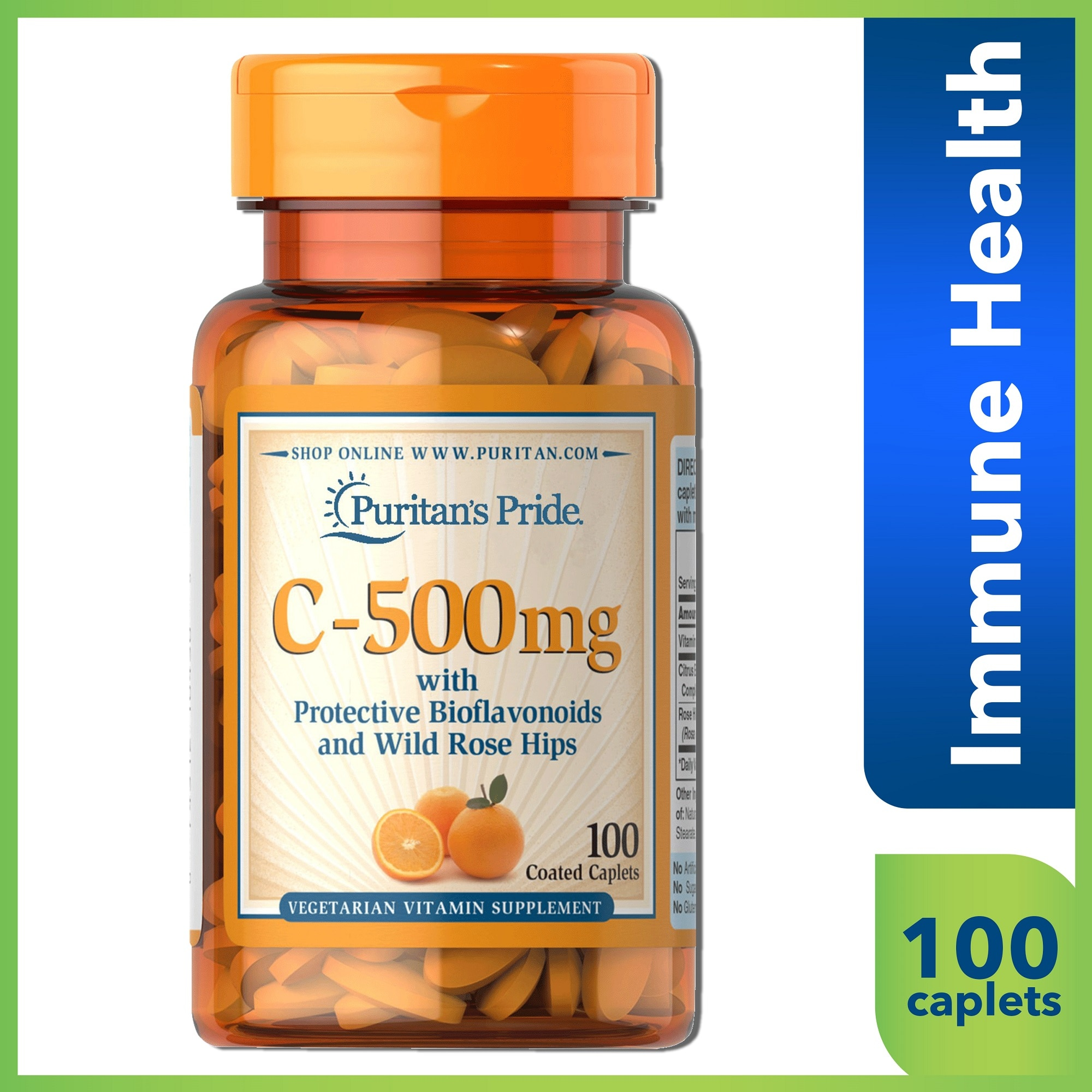 PURITANS PRIDEVitamin C 500 Mg Bioflavanoids Rose Hips 100 Caplets,Multivitamins and Overall WellnessBest Selling Products