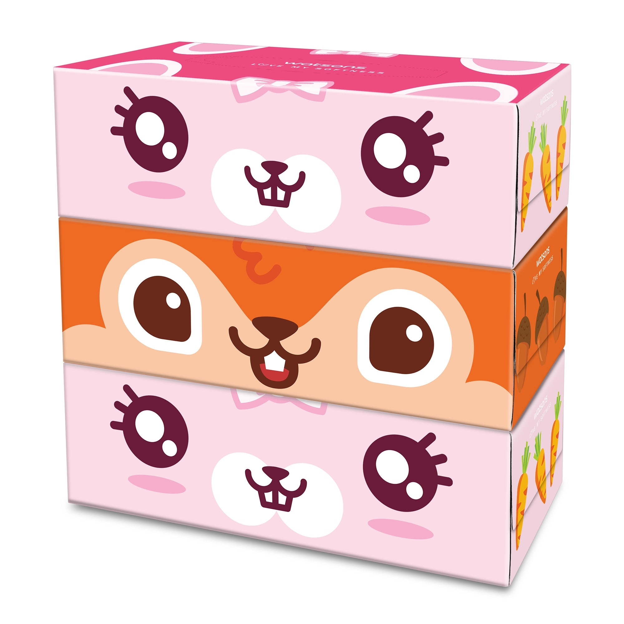 WATSONSFun Design Rabbit and Squirrel 3ply 100 Sheets 3 Boxes,Face and Body Wipes
