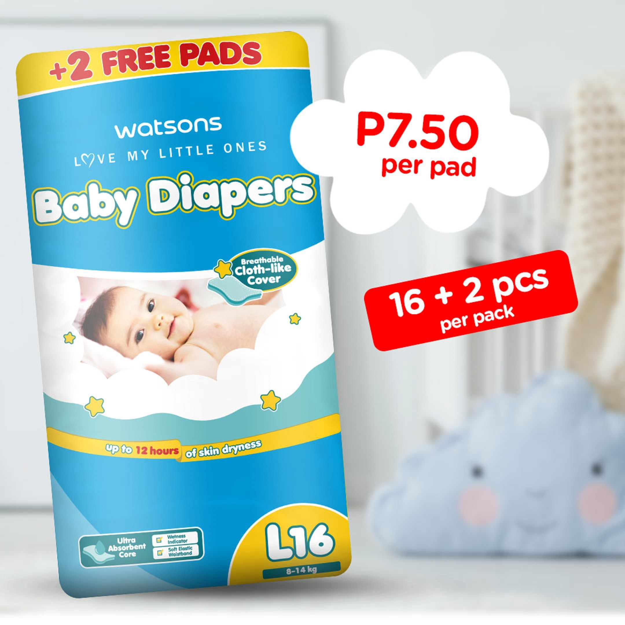 WATSONSLove My Little Ones Baby Diaper Large 16+2 Pads,Tape DiapersWatsons Baby