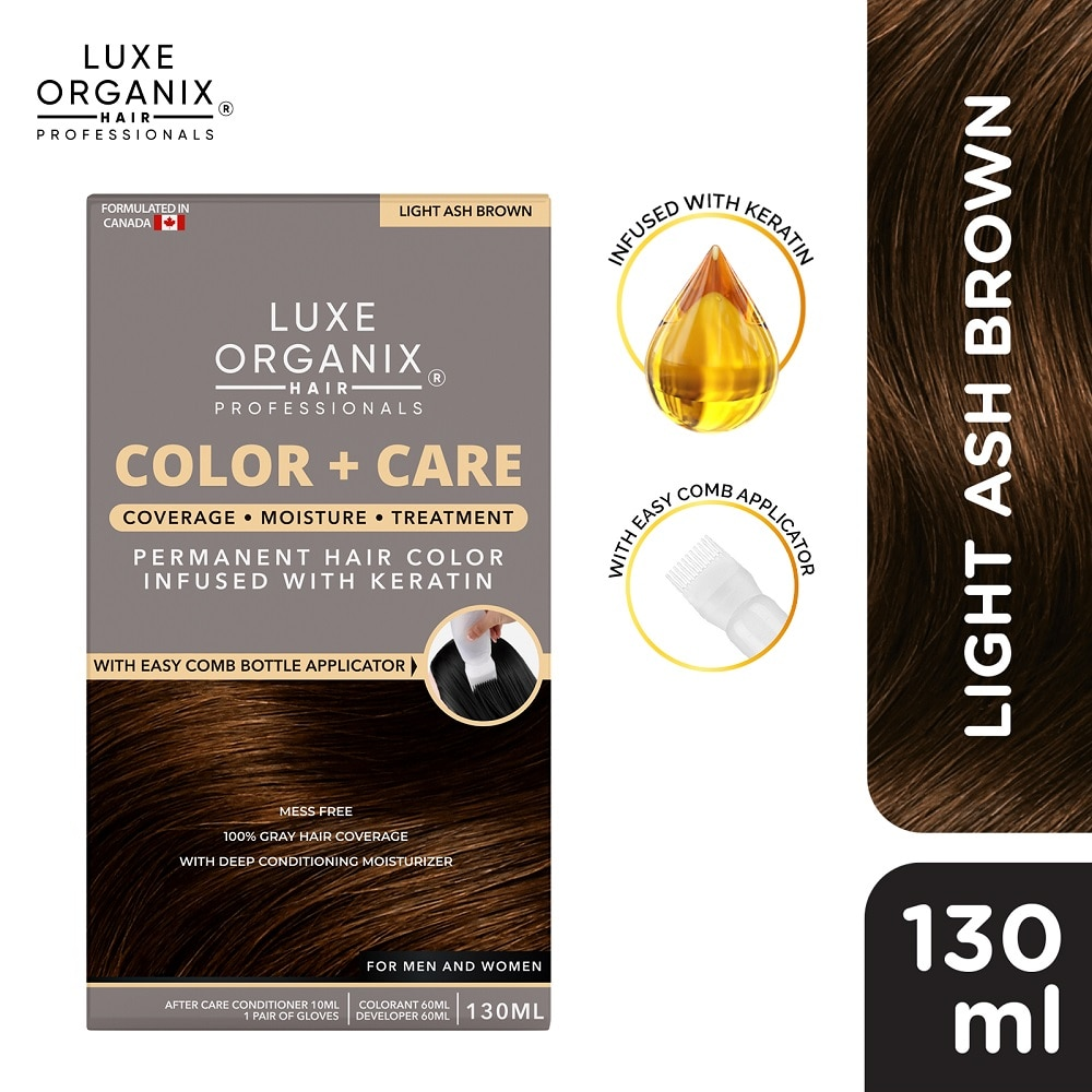 LUXE ORGANIXKeratin Hair Color + Care Light Ash Brown 130ml,Permanent