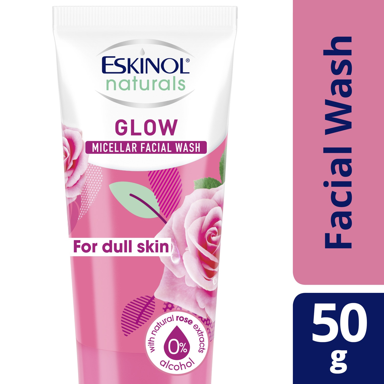 ESKINOLNaturals Micellar Facial Wash Glow with Natural Rose Extracts 50g,For WomenFree (1) Watsons Dermaction Plus Antiacne St20x2 for every purchase of Skin Care products