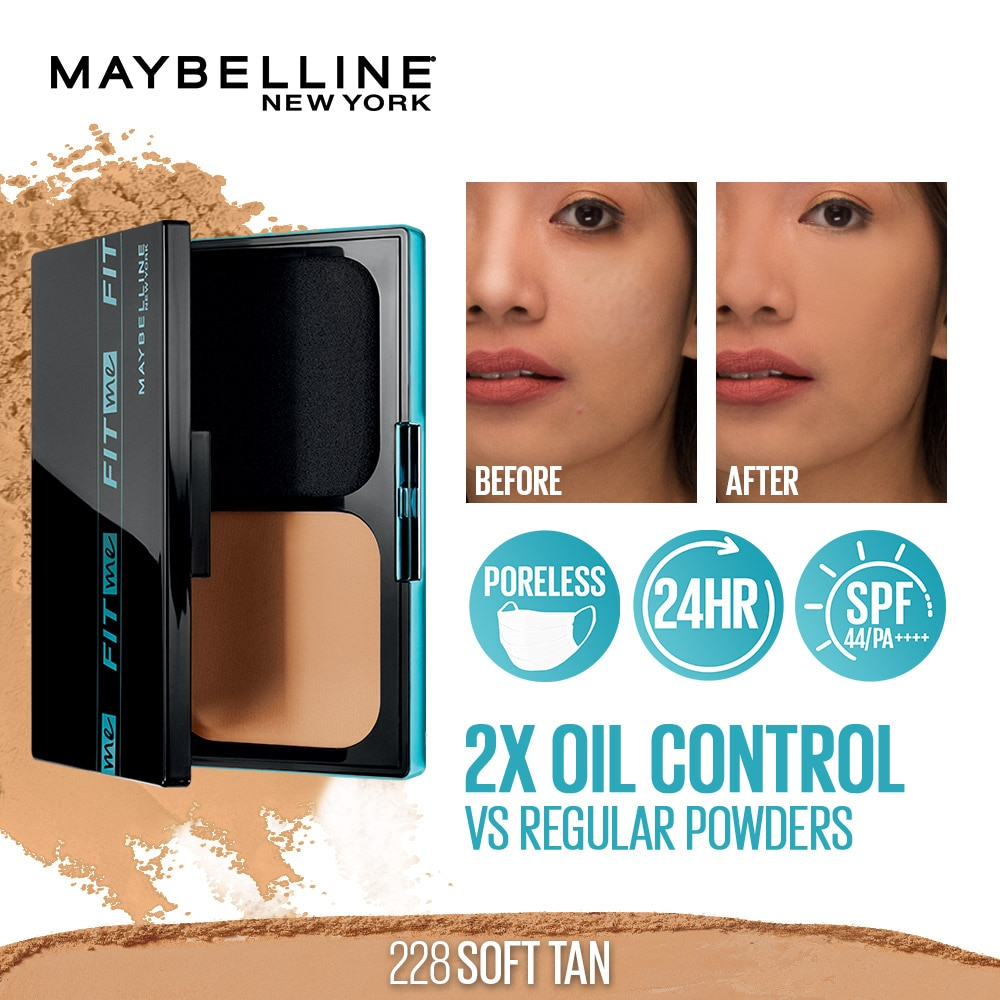 MAYBELLINEFit Me Ultimatte 24HR Powder Foundation Two Way Cake with SPF 228 Soft Tan 12g,Powder-