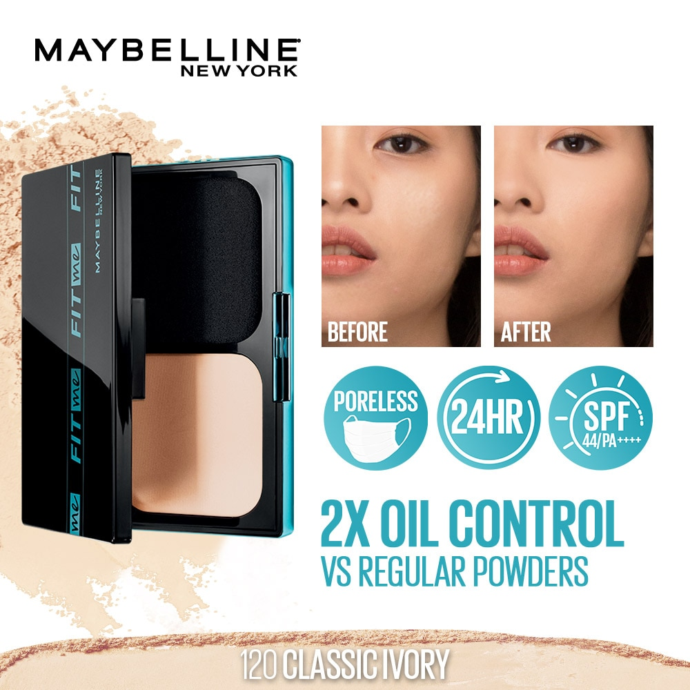 MAYBELLINEFit Me Ultimatte 24HR Powder Foundation Two Way Cake with SPF 120 Classic Ivory 12g,Powder-